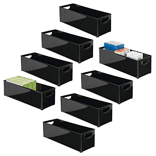 mDesign Juego de 8 Cajas organizadoras con Asas para Oficina – Organizador de Escritorio portátil de plástico – Práctica Caja de Oficina para los cajones o la Mesa de despacho – Negro