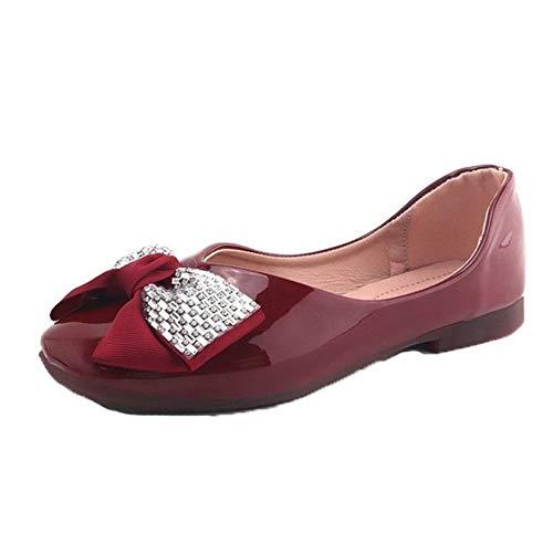 Zapatos de mocasín para Mujer Zapatos de Charol de Moda con Nudo de Lazo Brillante Zapatos Resistentes al Desgaste Mocasines de Ocio para Mujer