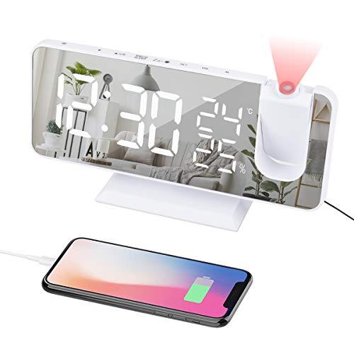 EVILTO Projection Alarm Clock With Dual Alarm7.3'' Large Mirror Radio...