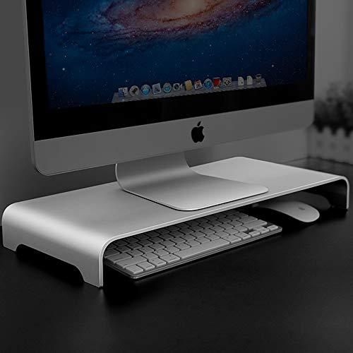 Vaydeer Aluminium Monitorständer Computer Riser Metall Tischständer Basis bis zu 27 Zoll Bildschirme für PC, Laptop, iMac, MacBook mit Speicherplatz Organizer für Keyboard & Mouse (50 × 22 × 6 cm)