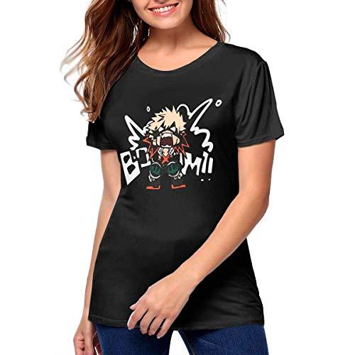 HuXiHuXiHu - Camiseta de manga corta para mujer Katsuki BAKUGO Boom My Hero, color negro negro XXL