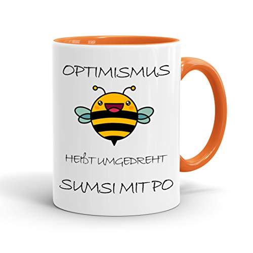 True Statements Lustige Tasse Optimismus heißt umgedreht sumsi mit po - Kaffeetasse mit Spruch als Geschenk - beidseitig bedruckt - spülmaschinenfest, innen orange