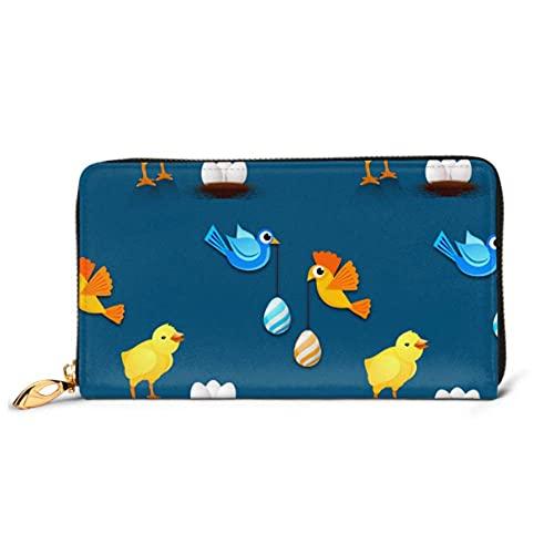 Ahdyr Mode Handtasche Reißverschluss Brieftasche Ostern Muster Eier Küken Vögel Telefon Kupplung Geldbörse Abendkupplung Blockieren Leder Brieftasche M