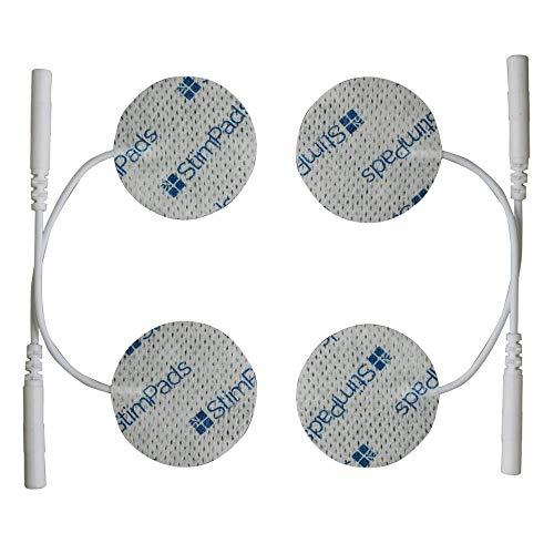 StimPads, redondos 32mm, Pack de 4 unidades de alto rendimiento, electrodos TENS - EMS de larga duración con conector universal tipo pin de 2mm