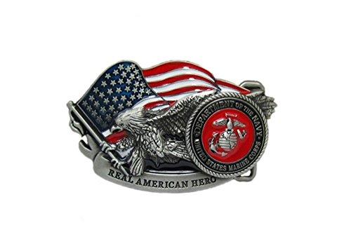 Fibbia della cintura, accessori da motociclista bandiera e l'aquila americana in 3D con incisione 'Real American Hero', in acciaio, Vintage, smalto, colore: rosso, Bianco, Blu e Nero