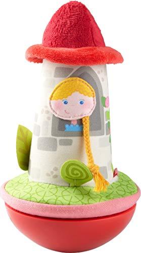 HABA 304279 - Stehauffigur Märchenturm, Stoffspielzeug mit Prinzessin im Turm für Babys ab 6 Monaten, inklusive Wackel- und Klingeleffekt