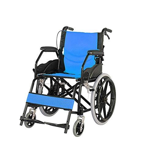 JINGQI Haushalt Folding Multifunktionale Rollstuhl Tragbare Carbon Steel Folding Rollstuhl Ältere Mobilität Rollstuhl-Four-Brake Design-Breath Kissen,Blau