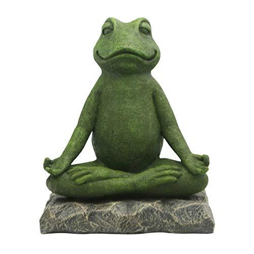 Blingko Meditation Statue Frosch und Zwerg Statue Zen Figur Harz Meditation Yoga Decor,Feng Shui Ornament Skulptur,Sammlung Handwerk,Rasen Garten Dekor (Frosch)