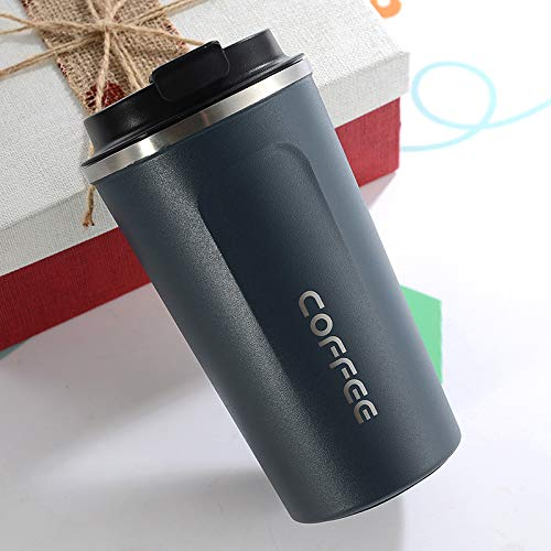 Heliansheng La Taza de Agua del Coche de la Taza de Agua del Aislamiento del Coche de la Taza de café del Acero Inoxidable del vacío Creativo Puede ser al por Mayor -azul-380ml