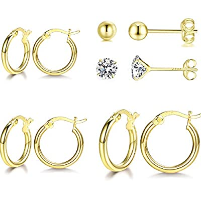 GULICX 14K Gold Plated Hoop Earrings - 3 Pairs Sterling Silver Post Small Hoops| Gold Hoop Earrings Sets for Women Girls (13mm 16mm 20mm) Tiny Cartilage CZ Ball Earrings Piercing Jewellery