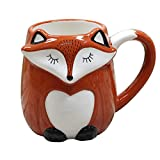 3d Ceramic Fox Relief Hand Painted Coffee Mug Milk Cup with Handle