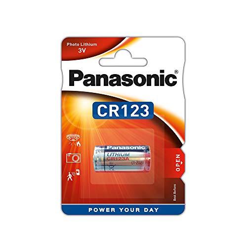Panasonic CR123 zylindrische Lithium-Batterie für leichte Geräte mit hohem Energiebedarf wie Rauchmelder, Alarmanlage, Stirnplampe, Kameras, 3V, 1er Pack