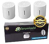 brumicold Spain Pack Ahorro 3 Filtro Ducha Recambio RF-01-3 Cartucho 15 Etapas,Compatible con los filtros de 6,8,10,12 Etapas, Ideal para Piles atopicas