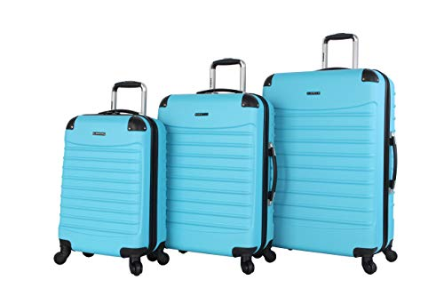 Ciao Voyager Luggage Collection - 3 Piece Hardside Lightweight Spinner Suitcase Set - Travel Set includes 20-Inch Carry On, 24 inch and 28-Inch Checked Suitcases (Voyager Aqua)