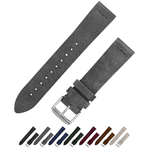 Benchmark Basics Slate Grey 20mm Suede Watch Strap - Vintage Leather Watch Band for Men & Women - Compatible with Regular & Smart Watches