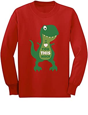 Valentine's Day I Love You This Much T-Rex Toddler Kids Long Sleeve T-Shirt 3T Red