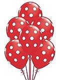 BWS Paquete de 100 Globos de látex Rojo con Lunares Blancos de 12 '/ 30 cm para Fiestas y cumpleaños