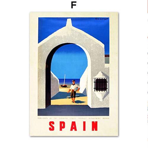 SDFSD Vintage Travel Retro Welt Großstadt New York Chile Deer einfache Wandkunst Leinwand Malerei Nordic Poster und Drucke Wandbilder für Wohnzimmer Dekor 60 * 100cm