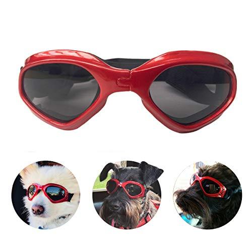 Namsan Hundebrille Verstellbarer Riemen Schutzbrille für Hunde Wasserdicht Winddicht Hunde Sonnenbrille -Rot