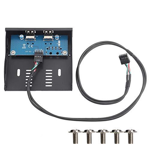 Panel Frontal de la Unidad de Disquete USB 2.0, 3.5 Pulgadas USB2.0 Puerto Frontal Panel Frontal de Alambre de Cobre estañado de 9 Pines, estricto Acuerdo con el tamaño de la Interfaz de