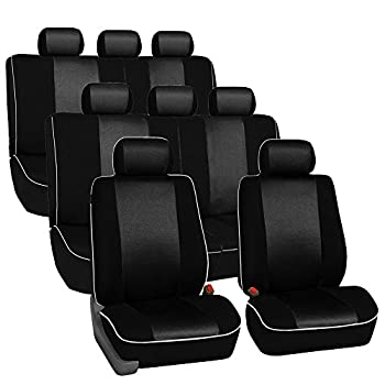 FH GROUP Three Row Cloth Car Seat Covers with Piping  Airbag and Split Ready  Black  FB063128 – Universal Fit for Cars Trucks & SUVs