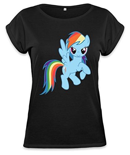 Rainbow Dash flying Womens Continental Rolled Sleeve T-Shirt Medium