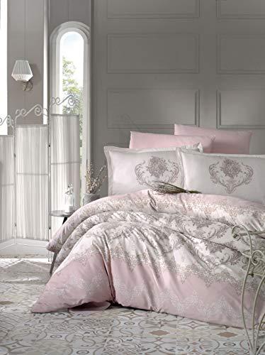 ZIRVEHOME Satin Bettwäsche 200x220 cm Rosa/Weiß. 5 teilig Set.100% Baumwollsatin, Bettbezug Barock und Blumen Muster, Verdeckter Reißverschluss, Model: Adra V1