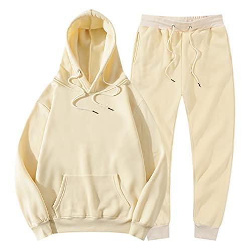 Inverno Unisex In Pile Con Cappuccio Pantaloni Casual Jogger Tuta Pullover, Beige, XXL