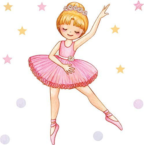 greenluup Tapetensticker Wandtattoo Wanddeko Ballet Tänzerin Ballerina rosa blond Sterne Punkte tanzen Kinderzimmer Mädchen Kleinkind