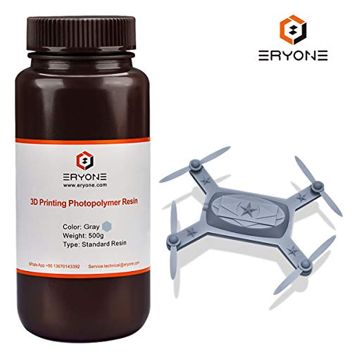 ERYONE 405nm UV Resin for DLP LCD 3D Printer Photopolymer Translucent, Ultralow Odor High Precision Can Mix, 0.5 kg Grey