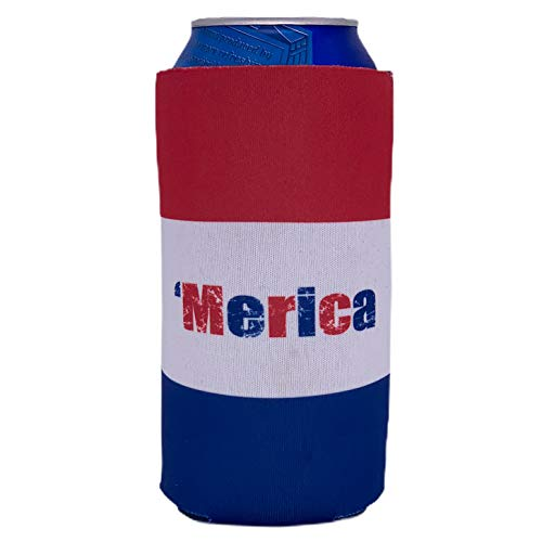 Merica Striped Pattern 16 oz. Can Coolie