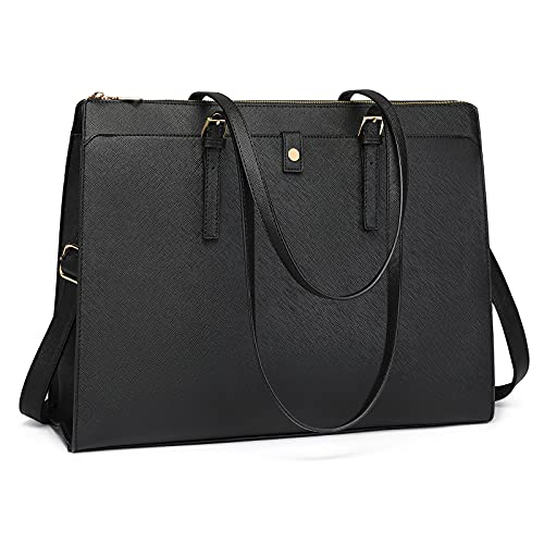 Laptop Tote Bag for Women 15.6 inch Women Leather Computer Briefcase for Work Waterproof Large Capacity Classy Business Tote Bags for Women Black