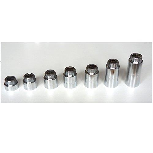 Tetón de extensión de cromo 1/2' BSP varios tamaños de alta calidad (cromo, 15 mm)
