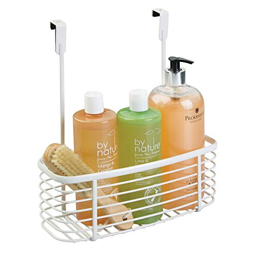 mDesign Over The Cabinet Vanity Storage Organizer Basket for Shampoo, Lotion, Health and Beauty Supplies/Products - White