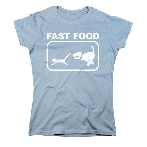Nutees Fast Food Dog Chasing Cat Funny Femmes T Shirt - Bleu Clair Small