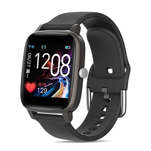 2021 Smartwatch Orologio, Con Funzione di monitoraggio della salute e Sport. Misurazione della temperatura corporea, Pressione sanguigna, frequenza cardiaca e altro. Per Android e iOS. (Nero)