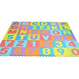 Bloodyrippa Kids Puzzle Alphabet Numbers Play Mat, Color Interlocking EVA Foam Floor Mat