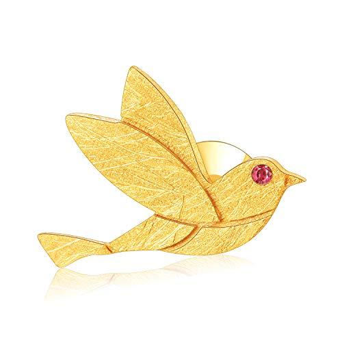 Lotus Fun S925 Sterling Silber Broschen Entzückende Kleine Jay-Vogel/Frieden Staube Broschen Natürliche Handgemachter Einzigartiger Schmuck für Frauen und Mädchen (Pigeon-Gold)