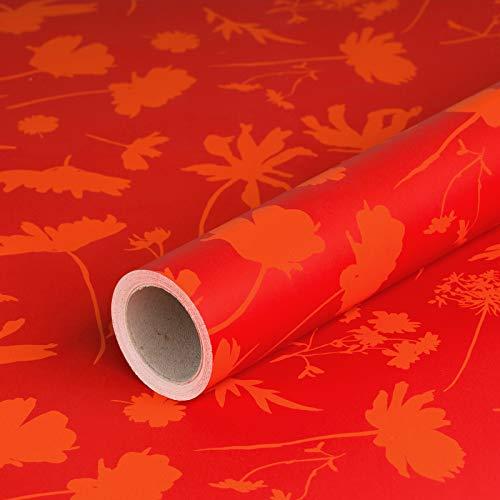 Geschenkpapier Rote Blumen, glatt, 80 g/m², rotes Geburtstagspapier, Weihnachtspapier - 1 Rolle 0,7 x 10 m