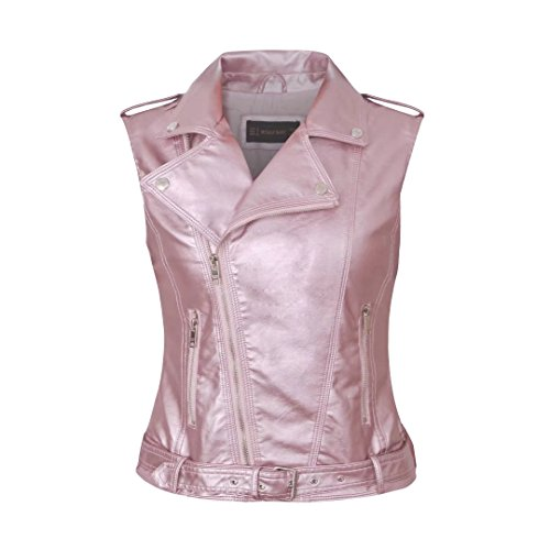 Daxvens Womens Motorcycle Biker Faux Leather Vest Slant Zip with Pockets Pink