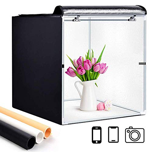 GLZ Photo Studio Light Box Portable Foldable 24 x 24 Inch Photography Shooting Tent Kit with...