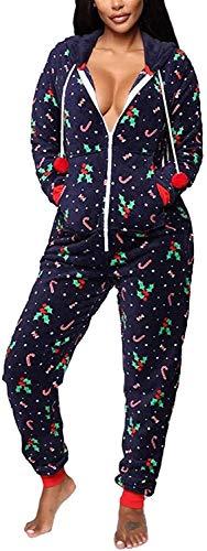 Huyghdfb Women Christmas Pajamas Romper Tree Pattern Long...