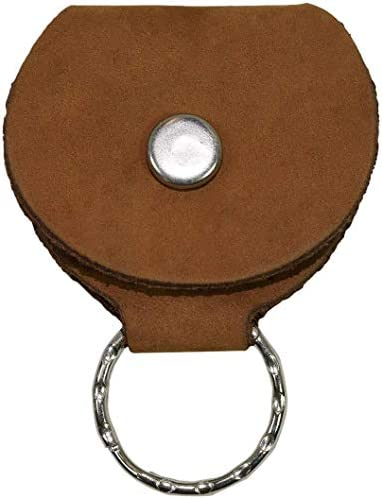 Rustic Leather Guitar Pick Holder Key Chain Handmade by Hide Drink Old Tobacco product image