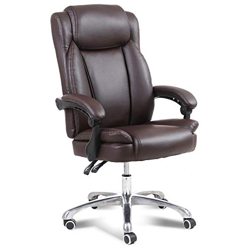 Big & Tall 400lbs Executive Office Chair with High Back Ergonomic Lumbar Support, Home Office Computer Desk Chairs, Bonded Leather (Brown)