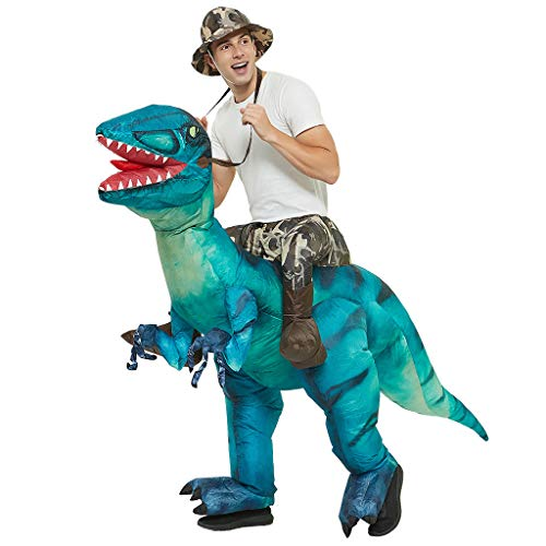PHILSP Disfraz Inflable de Halloween Disfraz de Jinete de Dinosaurio Inflable Montar Velociraptor Traje de Cosplay Azul