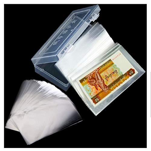 Osuter 200PCS Colección de Billetes Bolsillos Transparente Plastico Album de Billetes con Protectora Caja para Colección de Billetes