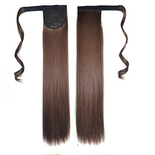 Wigs Vovotrade® Véritable nouveau clip en extension de cheveux humains Straight Queue de cheval autour de queue de cheval (Brown-light)