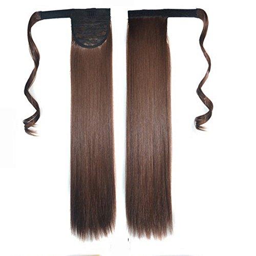 Longtis cabello pelucas de aspecto natural resistente al calor extensión del pelo recta cola de caballo envolver alrededor de cola de caballo para mujeres 24 pulgadas