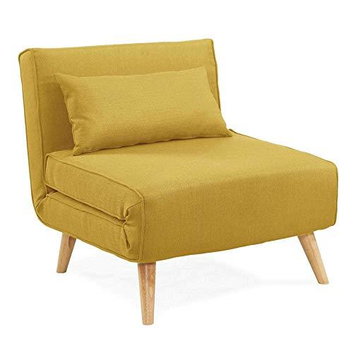 DecoInParis - Sillón convertible, tejido Tonka, color amarillo