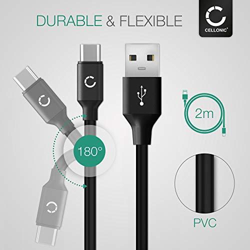 CELLONIC® IFC-100U IFC-400U USB Kabel 2m kompatibel mit Canon EOS 1D X III, M6 II, EOS Rp R Ra, PowerShot G5 X II G7 X III Ladekabel USB C Type C auf USB A 3.0 Datenkabel3Aschwarz PVC